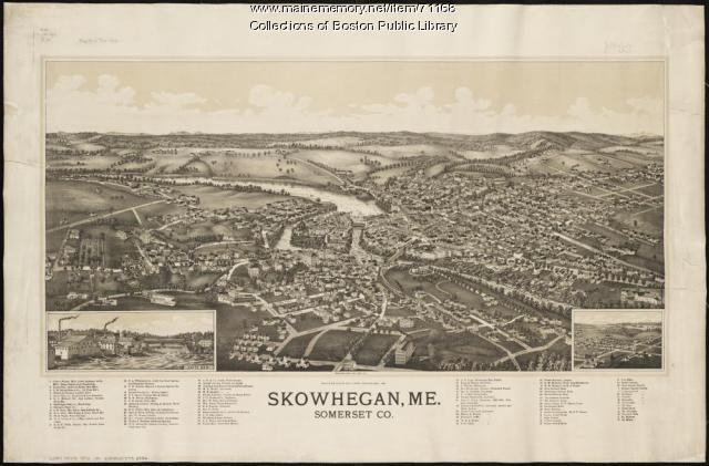 Bird's-eye view of Skowhegan, 1892