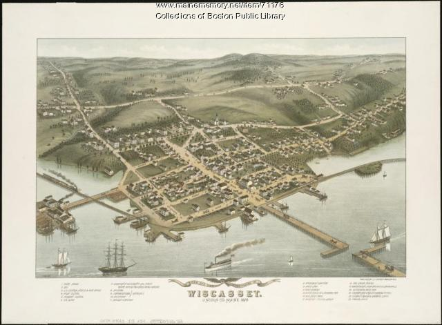 Bird's-eye view of Wiscasset, 1878