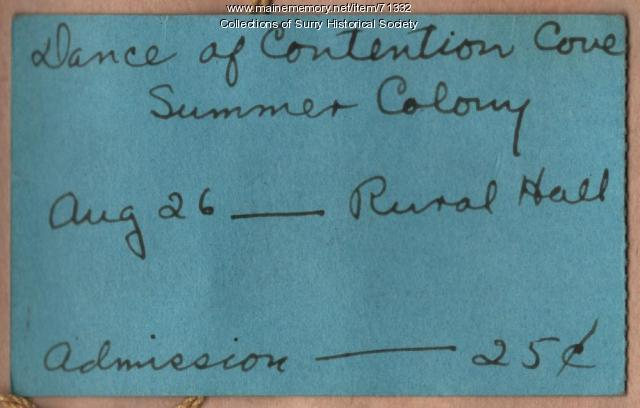 Dance of Contention Cove ticket, Surry, ca. 1928
