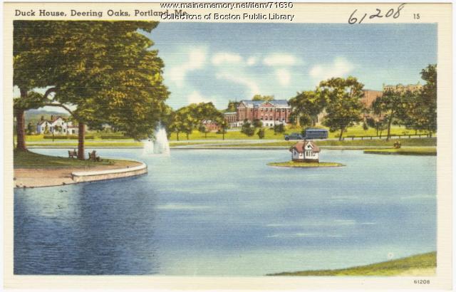 Duck House at Deering Oaks Park, Portland, ca. 1938