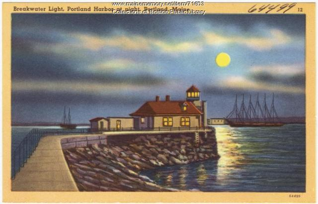 Breakwater Light at night, Portland, ca. 1928
