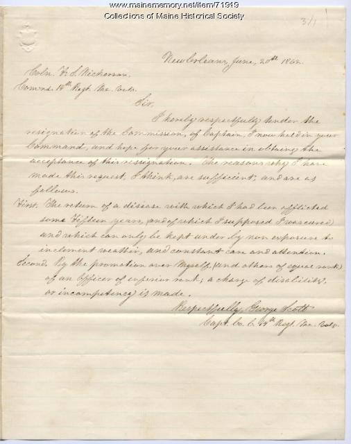 Capt. George Scott resignation, New Orleans, 1862