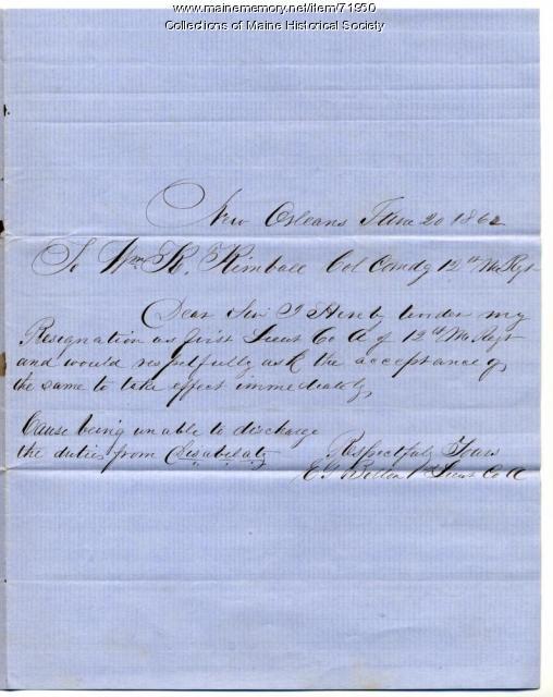 Lt. Elbridge Bolton resignation, New Orleans, 1862