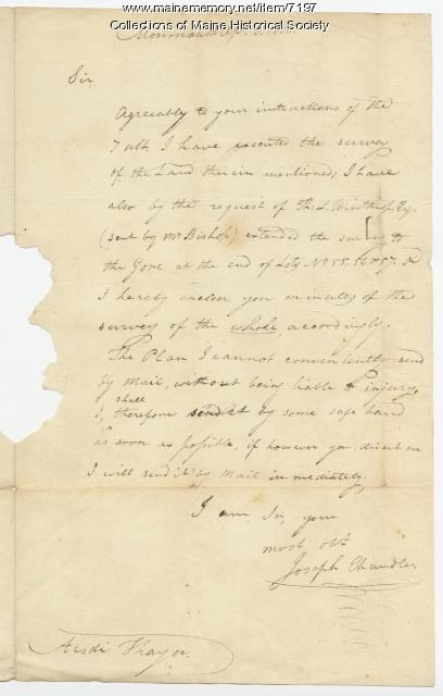 Joseph Chandler letter to the Kennebec Proprietors, 1808