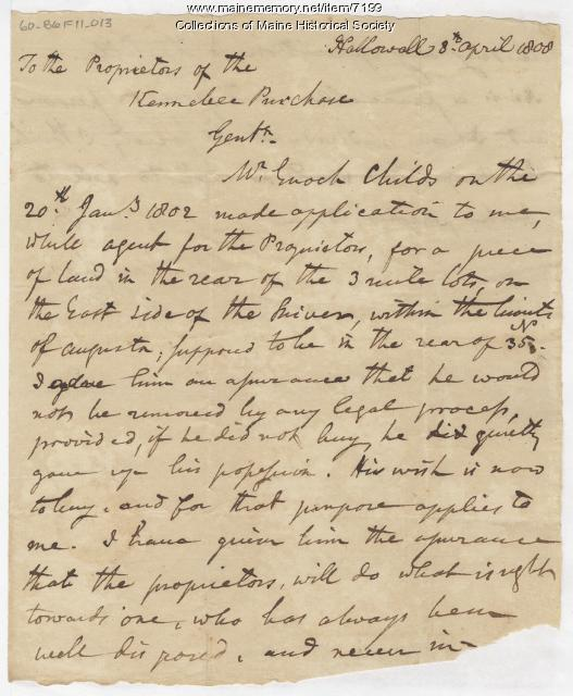 Charles Vaughan letter to Kennebec Proprietors, 1808