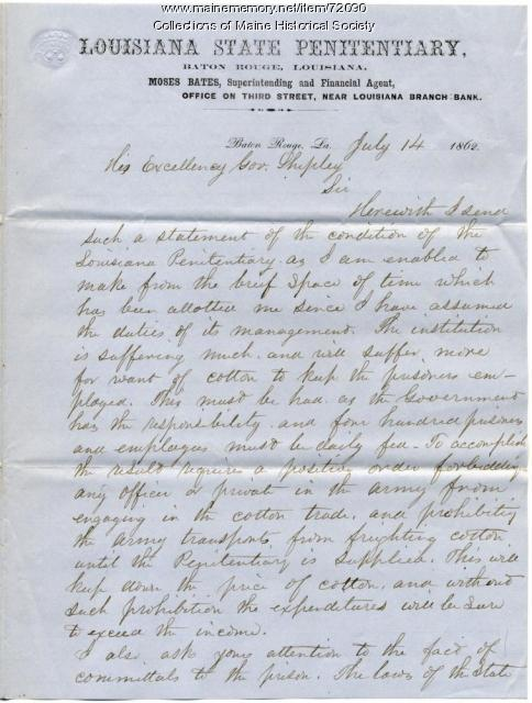 Report on cotton for prison, New Orleans, 1862