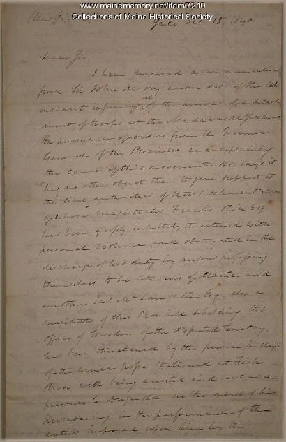Gov. John Fairfield letter about Madawaska, 1840