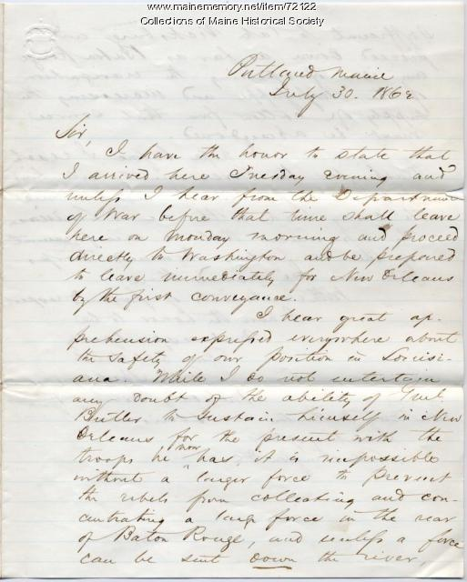 Brig. Gen. G.F. Shepley to Edwin Stanton, Portland, 1862