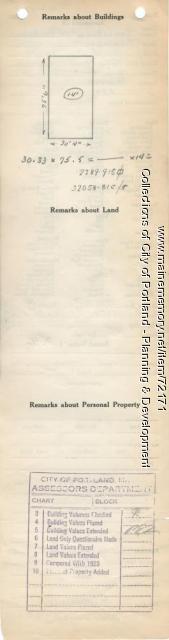Assessor's Record, 147-183 Presumpscot Street, Portland, 1924