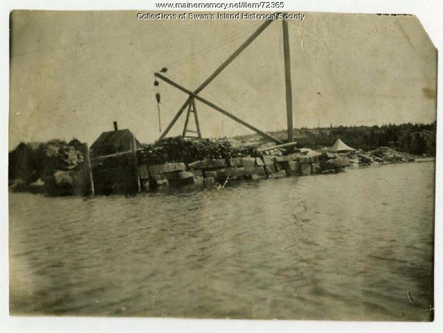 Derrick at the Quarry Wharf, Swan's Island, ca. 1900