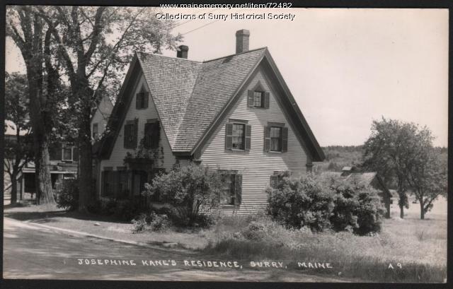 Postcard of Josephine Kane's residence, Surry, ca. 1926