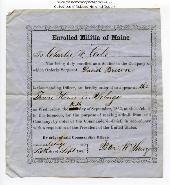 Militia call-up notice, Sebago, 1862