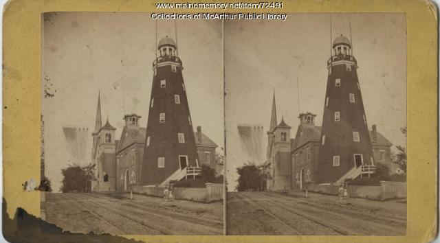 Observatory, fire house and church, Portland, circa 1875
