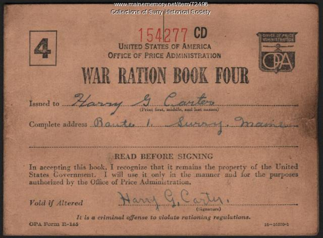 War Ration Book Number Four for Harry G. Carter, Surry, ca. 1943