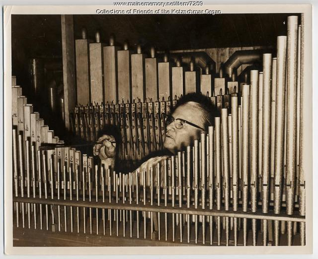 Burt Witham tuning Kotzschmar Organ, Portland, ca. 1950