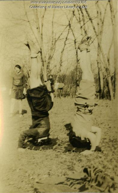 Student headstands, Farmington State Normal School, ca. 1929