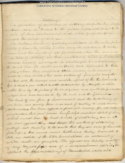 Essay on dueling, 1837