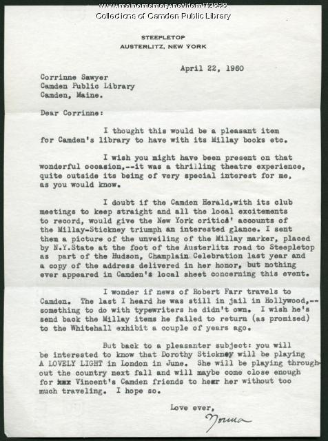Letter to Corinne Sawyer from Norma Millay, 1960