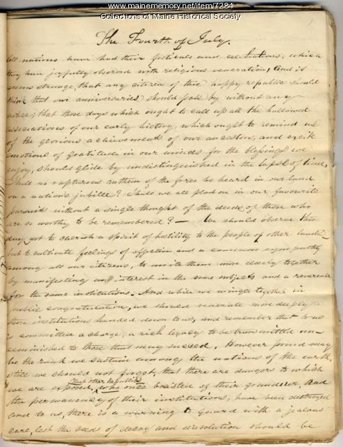 Fourth of July essay, 1837