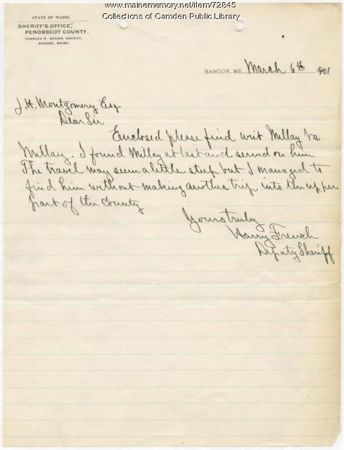 Letter from Sheriff Harry French to J.H. Montgomery, March 1901