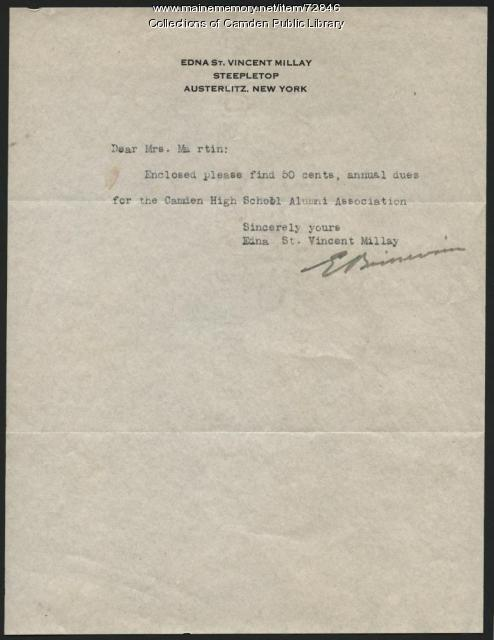 Edna St. Vincent Millay, Camden High School dues, ca. 1940
