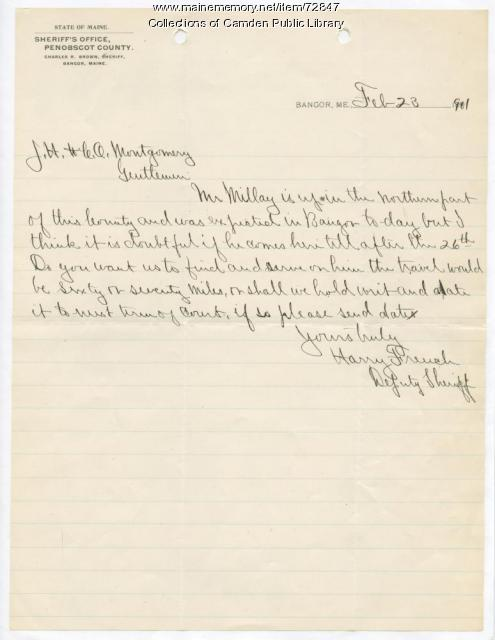 Letter from Harry French to J.H. Montgomery, February 1901