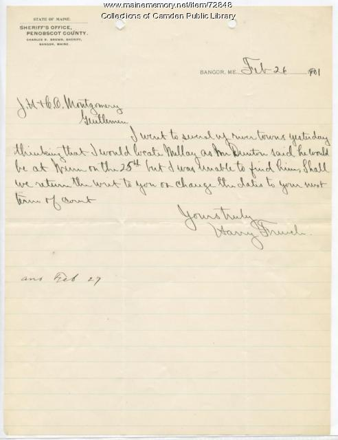 Letter from Harry French to J.H. Montgomery, 1901