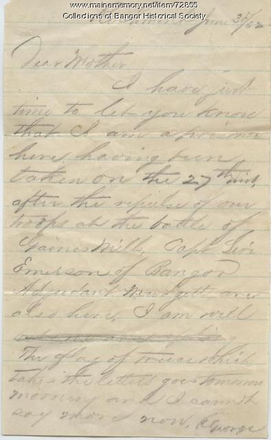 George Varney letter from Libby Prison, 1862