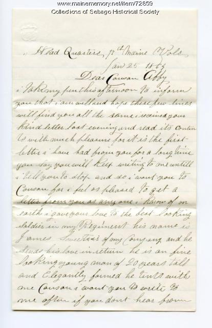 Corp. Walter Rounds writes to Cousin Abbie, 1864
