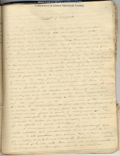 William Allen essay, Norridgewock, 1870