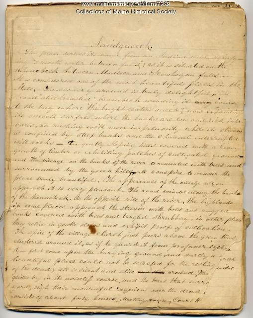 William Allen's essay on Norridgewock, ca. 1870