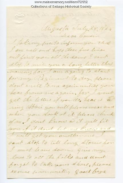 Walter Rounds letter to cousin Abbie after his furlough, 1864