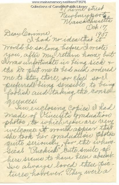 Clementine Buzzell Letter to Corinne Sawyer, October 1951