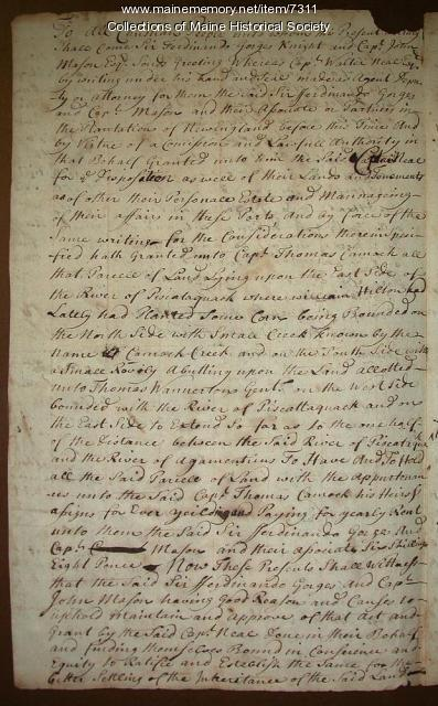 Ferdinand Gorges' land deed to Thomas Cammock