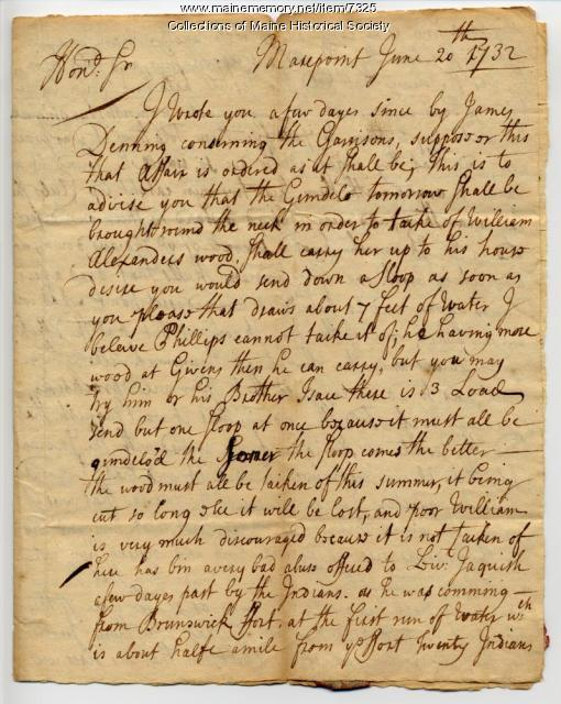 Letter regarding the murder of Sebastien Rasles, 1732