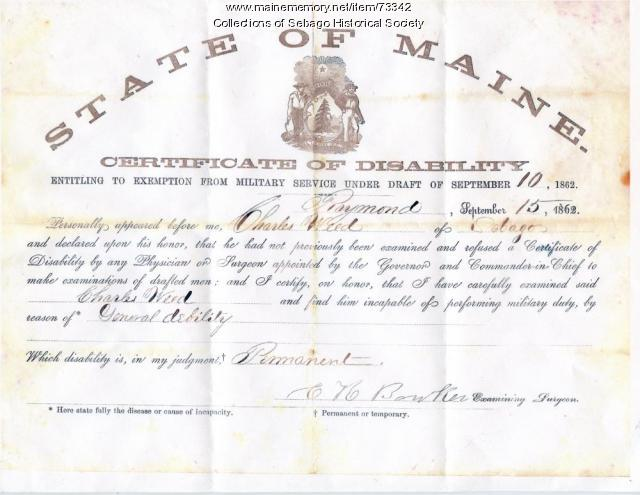 Charles Weed's Certificate of Disability, 1862