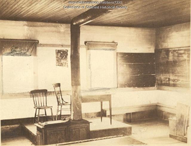 Interior, Scribner Hill School, Otisfield, 1924