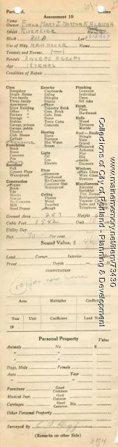 Assessor's Record, 321 Riverside Street, Portland, 1924