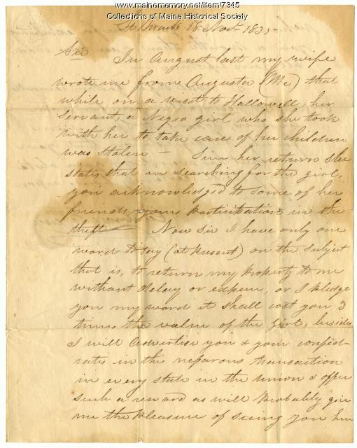 Letter from Ambrose Crane about stolen slave, 1835