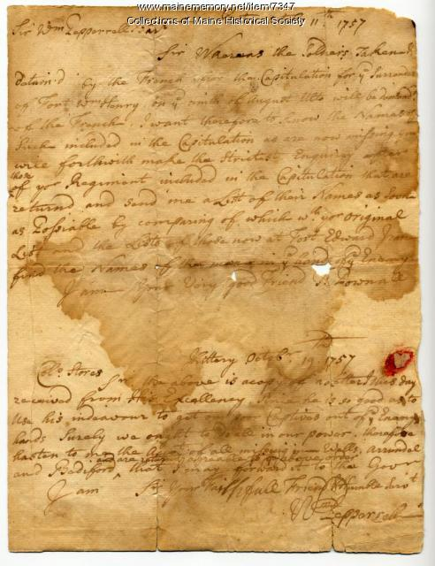 Prisoner of war letters, 1757