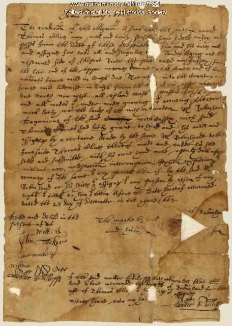 Robinhaud deed to land at Sheepscot River, 1662