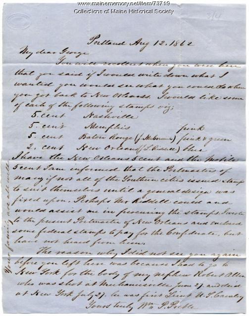 William P. Preble request for stamps, Portland, 1862