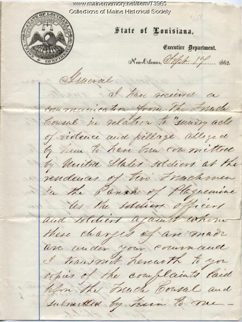 Brig. Gen Shepley to Brig. Gen. Dow on pillaging, New Orleans, 1862