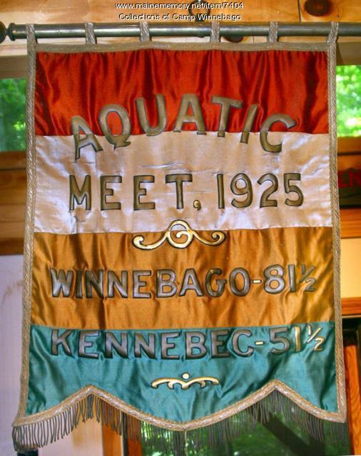 Banner from Aquatic meet at Camp Winnebago, 1925