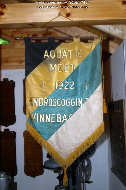 1922 Aquatic Meet banner at Camp Winnebago