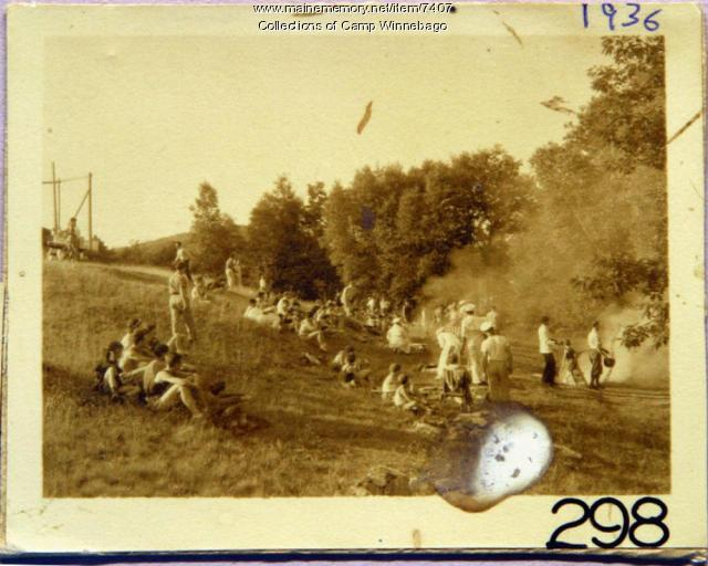 Outdoor supper field at Camp Winnebago, Fayette, 1936