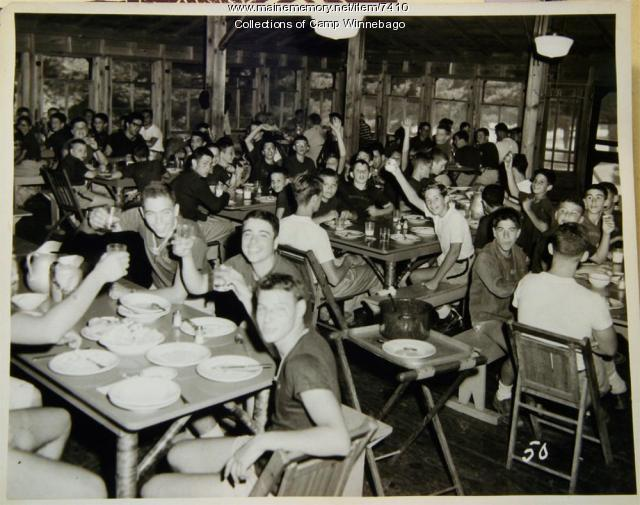 Dining hall at Camp Winnebago, 1957
