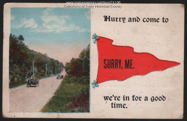 View of cars coming to Surry, 1917