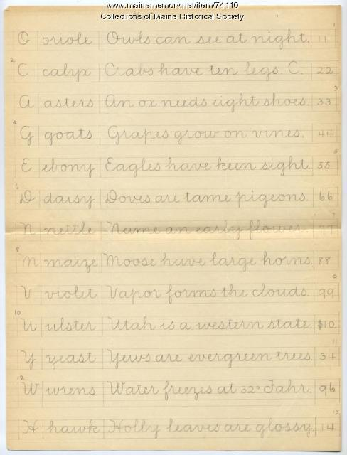 Vertical writing practice sentences, ca. 1900