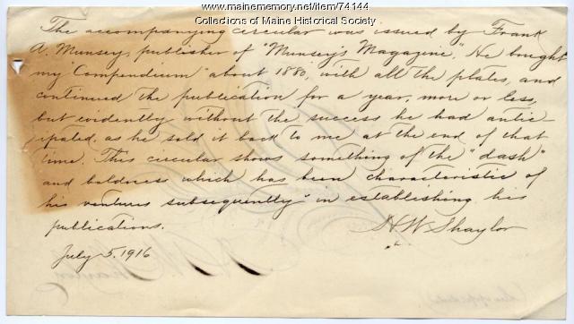 H. W. Shaylor letter, Portland, 1916